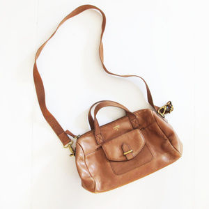 Fossil Brown Leather Crossbody Small Duffle Bag